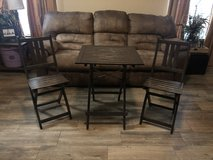 Cute wood bistro patio set in The Woodlands, Texas