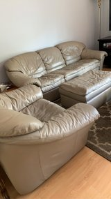 Leather Couch, Chair & Ottoman in Bartlett, Illinois