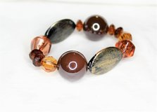 NEW Antiqued Silver Tone Red Orange Amber Stone Bead Chunky Stretch Bracelet Bead in Houston, Texas