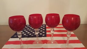 Red long stem crystal wine glasses - 4 in Naperville, Illinois