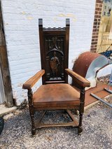 Carved gothic revival armchair in Bartlett, Illinois