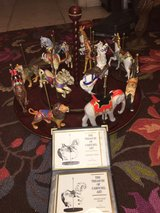 Franklin Mint-Treasury of Carousel Art-6 Horses,6 Animals & Wood Carousel in Ramstein, Germany