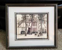 1987 Robyn Douglas Home House Art Charcoal Drawing Frame in Houston, Texas