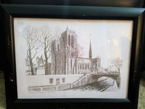 1980S DRAWING ETCHING OF PARIS NOTRE DAME BY F.DHOSKA in Houston, Texas
