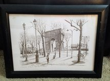 1980S PENCIL DRAWING ETCHING OF THE ARC DE TRIOMPHE PARIS BY F.DHOSKA in Houston, Texas
