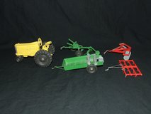 Vintage Tru-Toy Die Cast Yellow Farm Tractor / Red & Green Implements Tru Toy in Batavia, Illinois