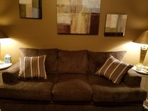 3 cushion couch with throw pillows in Bartlett, Illinois