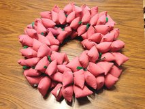 Pink Cloth Christmas Wreath in St. Charles, Illinois