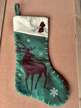 Green Christmas Stocking w/Reindeer in St. Charles, Illinois