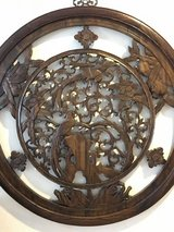 Antique Chinese Intricately Carved Circular Panel in Okinawa, Japan