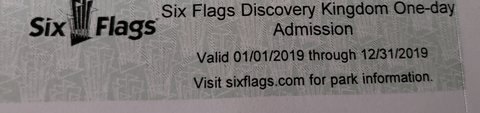 Six Flags Discovey Kingdom One Day Admission Tickets in Travis AFB, California