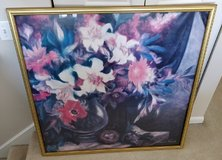 Very large FLOWERS Framed PICTURE Art Decor floral decoration ~ gold frame framing artwork in Westmont, Illinois