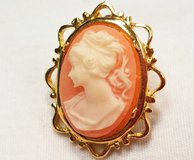 Vintage Sarah Coventry Coral Cameo Orange Carved Gold Tone Post Earrings in Houston, Texas