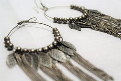 Silver Tone Feather Drop Dangle Native American Boho Bead Chain Hoops Hook in Houston, Texas