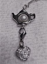 Teapot with Vintage Cling Heart Charm Pendant on Dainty Sterling Chain in Kingwood, Texas