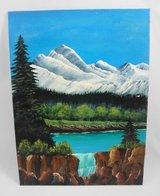 """Mountain Falls Acrylic Landscape  Tranquil Painting Mountain Scene 9"""" x 12"""" in Macon, Georgia"""