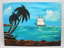 """Out to Sea Acrylic Seascape Landscape Painting Ocean Scene 9"""" x 12"""" in Macon, Georgia"""