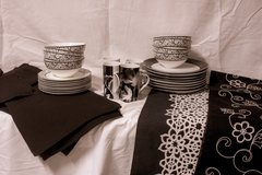 Black and white dishes and accessories in The Woodlands, Texas