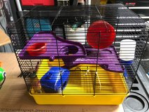 Pawise Hamster fun house Cage with shelves, slides, wheel, house, dish & water bottle in Aurora, Illinois