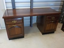 """Office Desk with cherry wood raised panel front file drawers  24"""" x 60"""" in The Woodlands, Texas"""