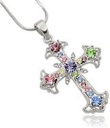 CLEARANCE **BRAND NEW***Pastel Multi Color Crystal Cross Silver Tone Necklace*** in Cleveland, Texas