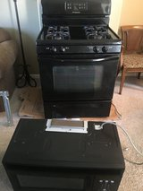 Black Frigidaire Gas Range and over the hood Micowave in Plainfield, Illinois
