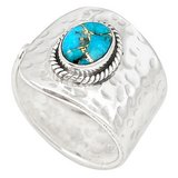 New - Blue Copper Turquoise 925 Sterling Silver Ring - Size 11.5 in Alamogordo, New Mexico