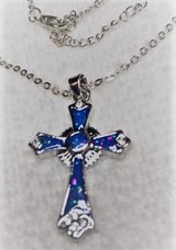 Cross Opal Blue Sterling Silver with Sterling Silver Ornate Design in Kingwood, Texas