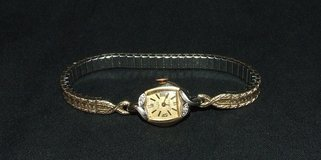 Vintage 14K Gold Ladies Wrist Watch / Diamonds by Vulcan 17 Jewels Shock Protected ~ Works in Bolingbrook, Illinois
