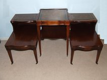 MCM Accent Table & Side / End Tables  3-Piece Matching Set / Leather Inlay in Westmont, Illinois