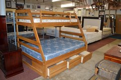 Solid Oak Twin Over Full Bunk bed frame complete in Tacoma, Washington
