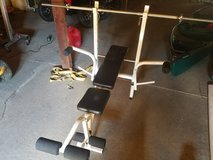 Small weight bench and bar in Fort Leonard Wood, Missouri