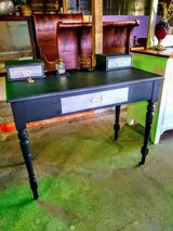 early Antique oak desk chalk painted in Camp Lejeune, North Carolina