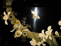 Vintage - 6-Panel Black Lacquer Oriental Screen in Ramstein, Germany