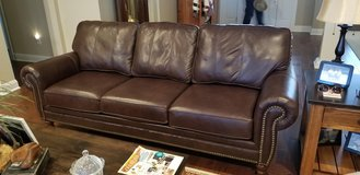 Real Leather Couch with Nail Head Trim in Camp Lejeune, North Carolina