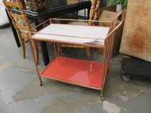 Marble Topped Bar Cart with Red Base in Bartlett, Illinois