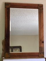 VINTAGE BEVELED GLASS MIRROR WITH NEW RUSTIC CUSTOM MADE FRAME, FineArtsMora, Local Joshua Tree ... in 29 Palms, California
