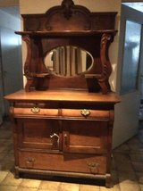 Antique Oak Sideboard with Beveled Mirror in Stuttgart, GE