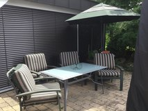 Patio Table Four Chairs w/cushions Umbrella w/stand in Stuttgart, GE