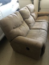 brown suede couch in Bartlett, Illinois