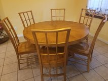 Solid wood dining table with 6 chairs in The Woodlands, Texas