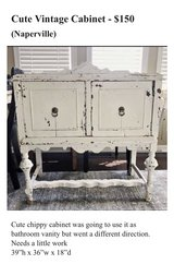 Vintage Farmhouse Cabinet Chippy in Westmont, Illinois