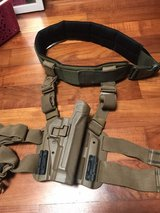 Black Hawk tactical belt with M9 leg holster in Okinawa, Japan