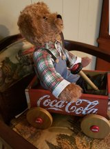 Coca Cola Franklin Heirloom toy Teddy Bear in Wagon in Conroe, Texas