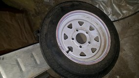 Small trailer wheel in Yucca Valley, California