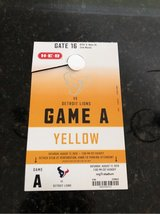 Texans yellow parking pass for August 17 in Kingwood, Texas