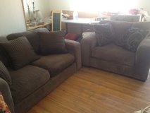 Love seat & matching large Chair & two matching end tables. in Alamogordo, New Mexico