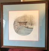 "Pat Buckley Moss Framed Print ""River Work"" Naperville River Walk in Chicago, Illinois"