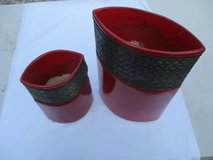 Pair Contemporary Red Ceramic Vases in Bartlett, Illinois