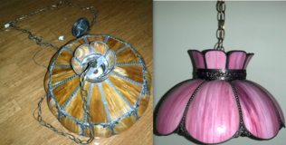 Vintage Tiffany Style Brown -OR- Pink Chandelier / Swag Lamp Light Fixture ~$50EA in Joliet, Illinois